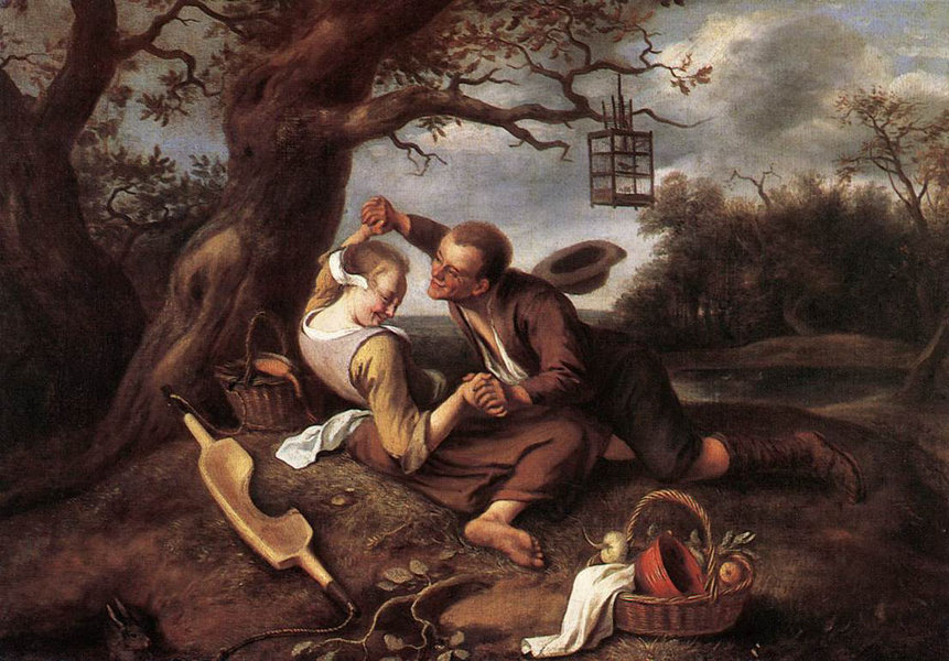 Merry Couple by Jan Steen (1626-1679, Netherlands) | Art Reproduction | WahooArt.com