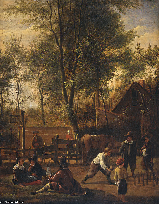 The bowlers by Jan Steen (1626-1679, Netherlands) | Painting Copy | WahooArt.com