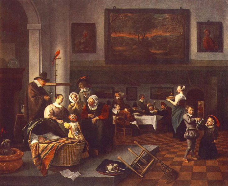 'The Christening' by Jan Steen (1626-1679, Netherlands)