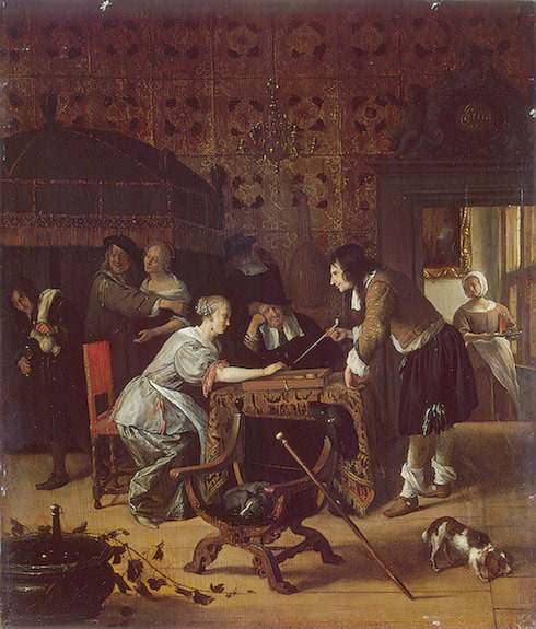 Tric-Trac Players by Jan Steen (1626-1679, Netherlands) | Art Reproduction | WahooArt.com