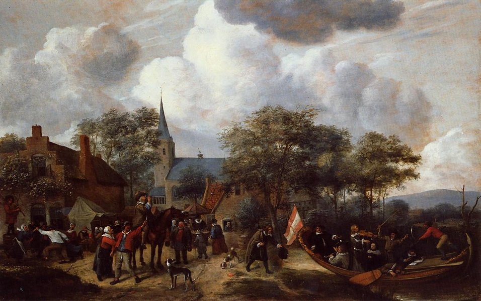 'Village Festival with the Ship of Saint Rijn Uijt' by Jan Steen (1626-1679, Netherlands)