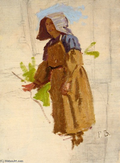 'Grape Picker in a Cap 1' by Jean Frederic Bazille