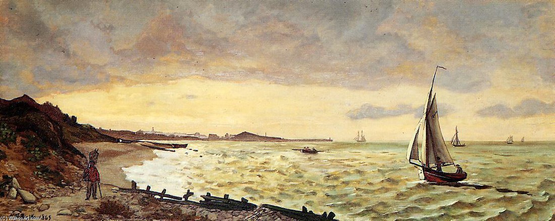 'Seascape. The Beach at Sainte-Adresse' by Jean Frederic Bazille