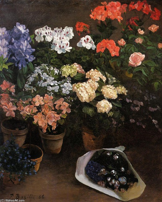 'Study of Flowers' by Jean Frederic Bazille