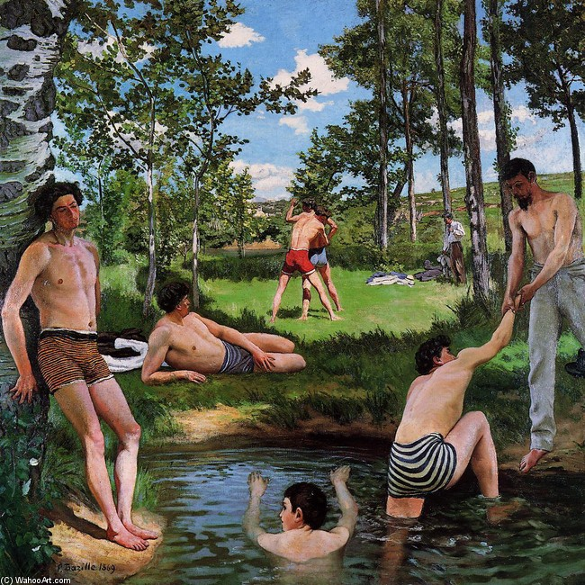 'Summer Scene (aka Bathers)' by Jean Frederic Bazille