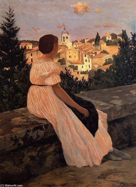 'The Pink Dress' by Jean Frederic Bazille