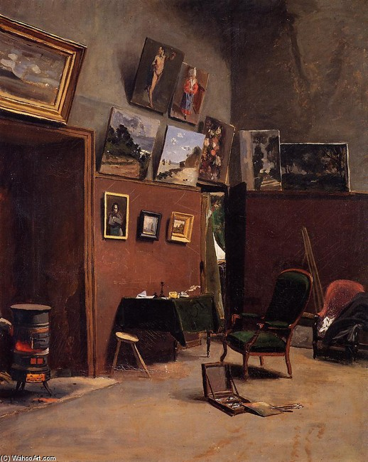 The Studio on the Rue de Furstenberg by Jean Frederic Bazille | Famous Paintings Reproductions | WahooArt.com