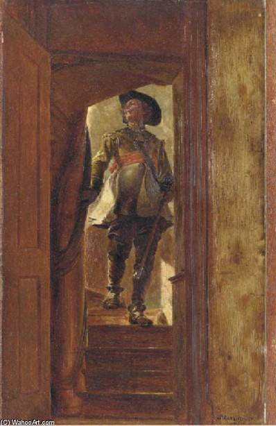 A gentleman descending the stairs by Jean-Louis Ernest Meissonier | Painting Copy | WahooArt.com