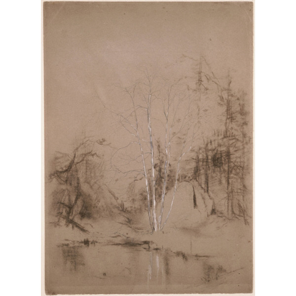 'Trees Near a Pond' by Jervis Mcentee (1828-1891, United States)