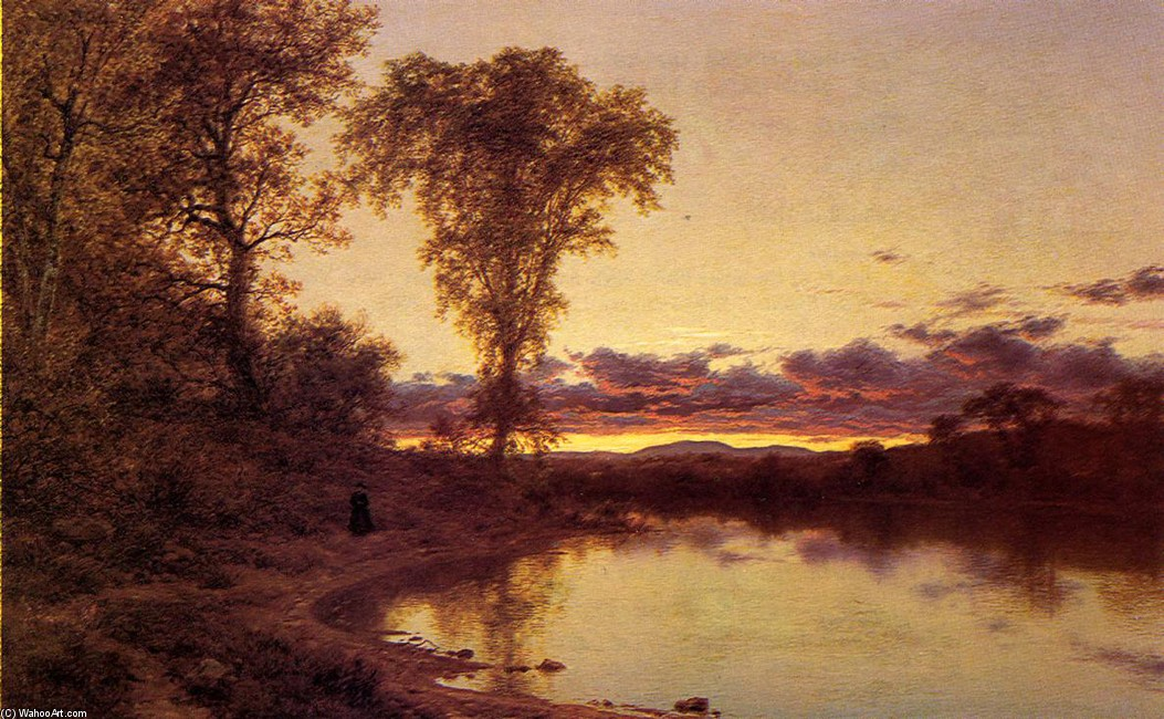 Twilight, a Stroll by the Shore by Jervis Mcentee (1828-1891, United States) | Oil Painting | WahooArt.com