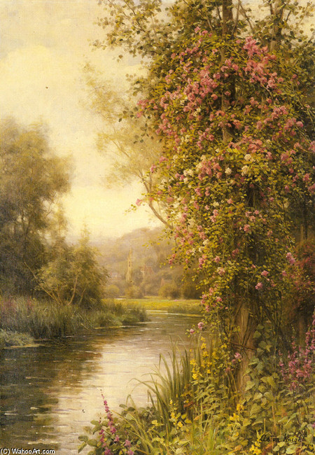 A Flowering Vine along a Winding Stream with a Country Church Beyond by Louis Aston Knight | Museum Quality Reproductions | WahooArt.com