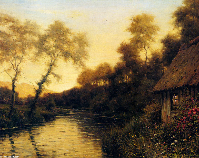 'A French River Landscape At Sunset' by Louis Aston Knight
