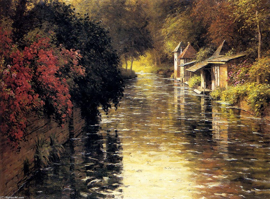 'A French River Landscape' by Louis Aston Knight