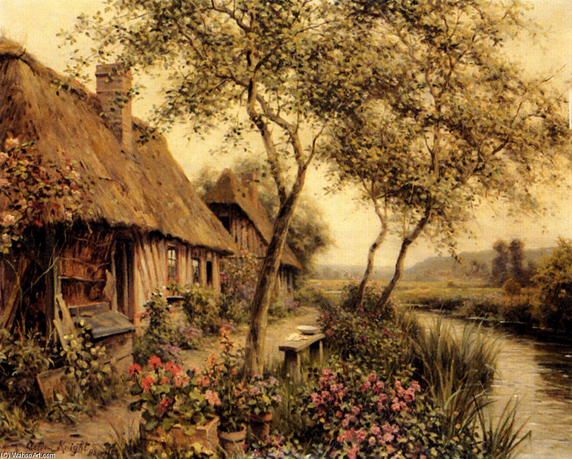 Cottages Beside A River by Louis Aston Knight | Art Reproduction | WahooArt.com