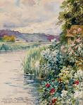 Louis Aston Knight - Flowers and reeds on the banks of a river, hills in the background