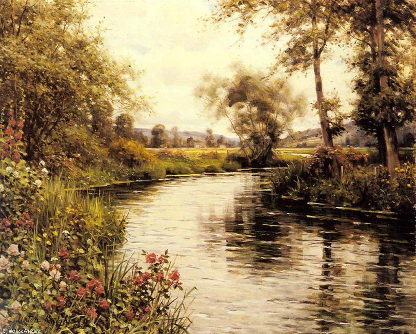 Flowers in Bloom by a River by Louis Aston Knight | Art Reproduction | WahooArt.com