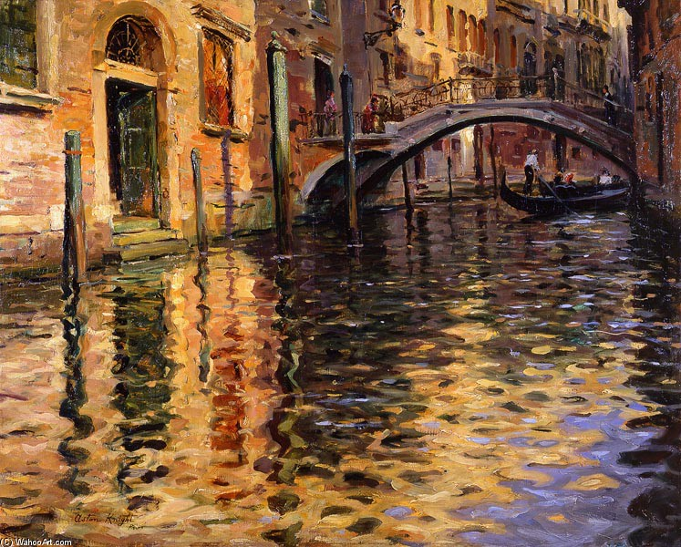 'Pont del Angelo, Venice' by Louis Aston Knight