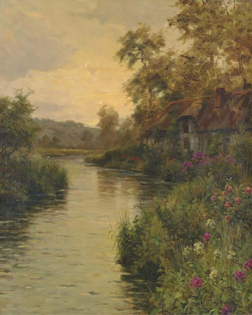 'River at Sunset, Normandy' by Louis Aston Knight