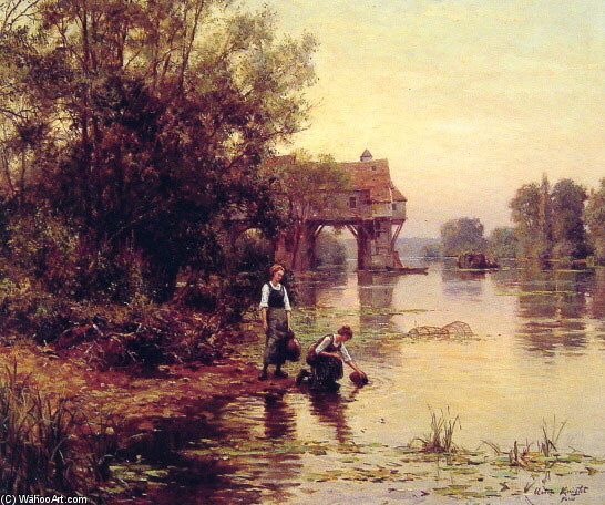 Two Girls by a Stream by Louis Aston Knight | WahooArt.com