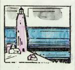 Lyonel Feininger - Buildings with Five Stars; Lighthouse; and Sailing Ship with Two Stars
