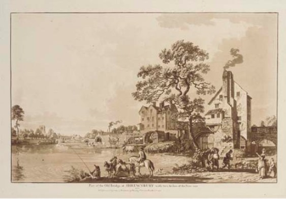 'Part of the Old Bridge at Shrewsbury with two arches of the new one' by Paul Sandby