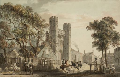 The Cemetery Gate of St Augustine`s Monastery Canterbury by Paul Sandby | Oil Painting | WahooArt.com