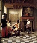 Pieter De Hooch - A Woman Drinking with Two Men