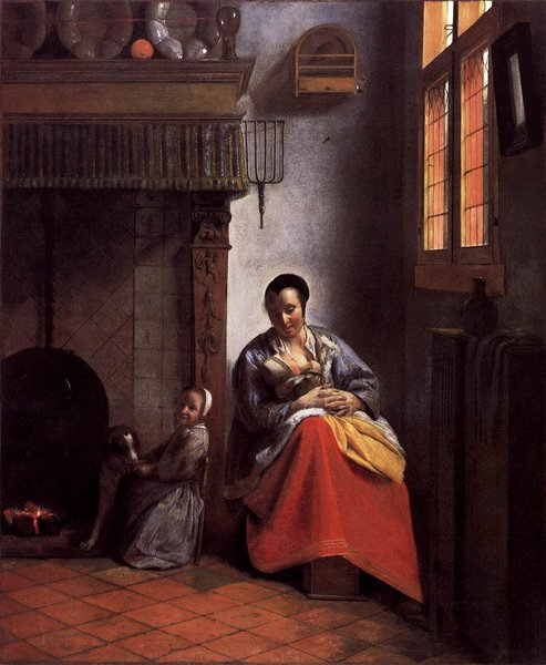 A Woman Nursing an Infant with a Child and a Dog by Pieter De Hooch (1629-1684, Netherlands) | Museum Quality Reproductions | WahooArt.com
