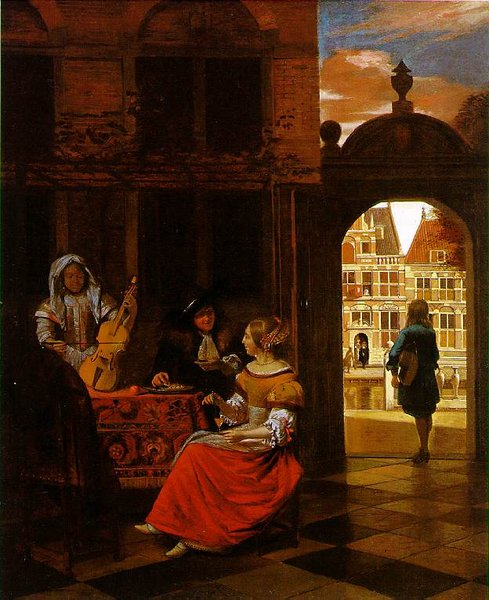 Musical Party in a Courtyard by Pieter De Hooch (1629-1684, Netherlands) | WahooArt.com