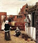 Pieter De Hooch - Woman and Maid in a Courtyard