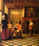 Pieter De Hooch - Woman Drinking with Two Men and a Maidservant
