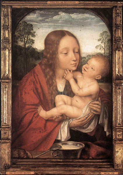 'Virgin and Child in a Landscape' by Quentin Massys (1466-1529, Belgium)