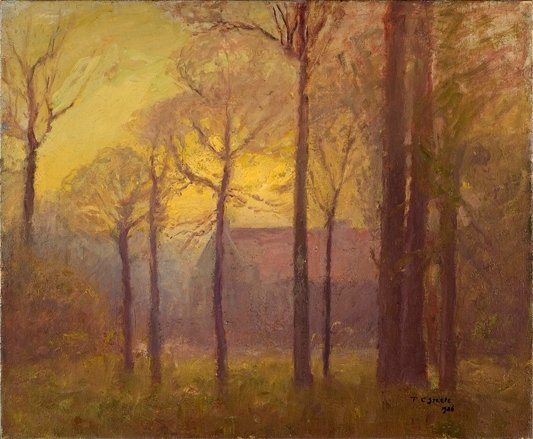 'Building Among Tall Trees (Sunset on the Campus)' by Theodore Clement Steele (1847-1926, United States)