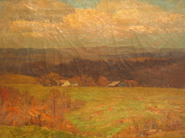 'Farm in the Wooded Hills' by Theodore Clement Steele (1847-1926, United States)