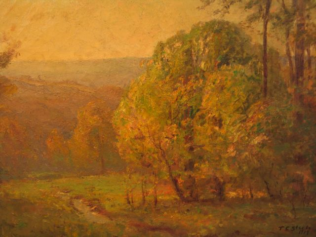 Wooded Hills in the Spring by Theodore Clement Steele (1847-1926, United States) | Art Reproduction | WahooArt.com