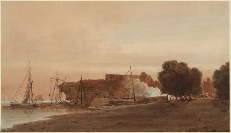 A Boatyard at the Mouth of an Estuary by Thomas Girtin (1775-1802, England) | Oil Painting | WahooArt.com