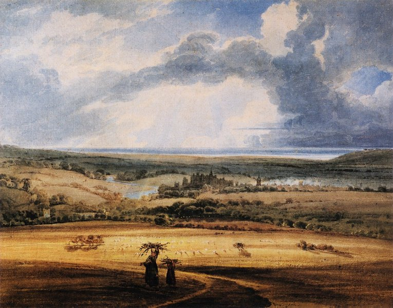 'Alnwick Castle from Brizlee, Northumberland' by Thomas Girtin (1775-1802, England)