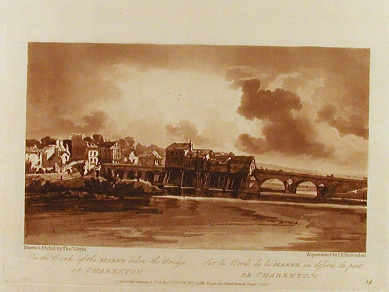 'On the Banks of Marne below the Bridge at Charenton' by Thomas Girtin (1775-1802, England)