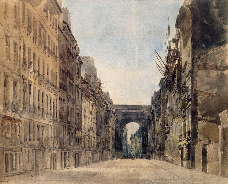 'Paris. Rue St Denis' by Thomas Girtin (1775-1802, England)