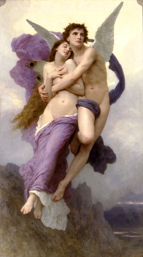 William Adolphe Bouguereau >> The Rapture of Psyche  |  (oil, artwork, reproduction, copy, painting).