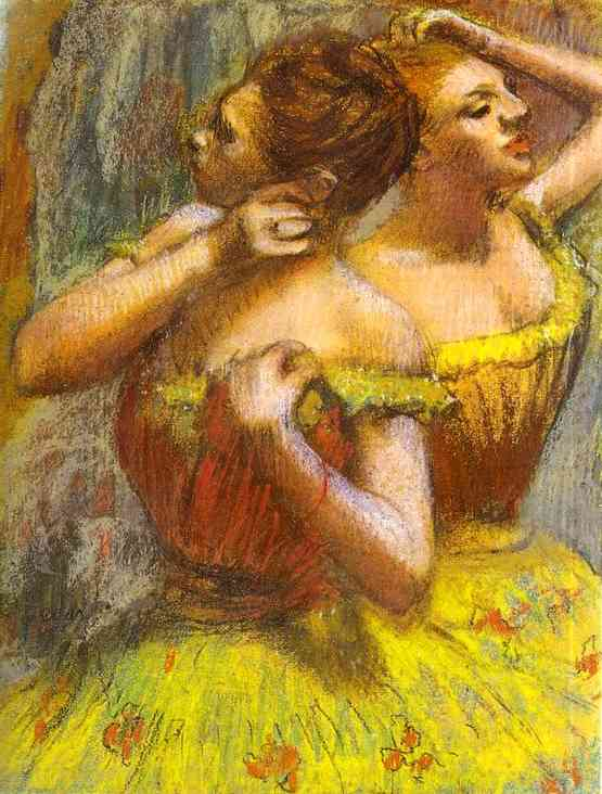 Edgar Degas >> Two Dancers.(Deux danseuse)  |  (Oil, artwork, reproduction, copy, painting).