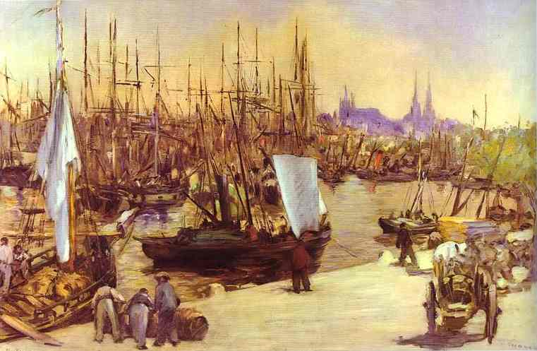 Edouard Manet >> The Harbour at Bordeaux  |  (Oil, artwork, reproduction, copy, painting).