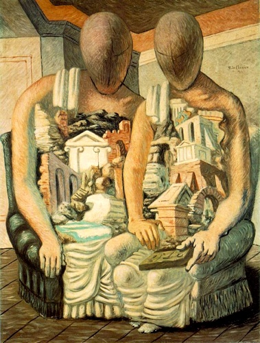 Giorgio de Chirico >> The Archaeologists  |  (Oil, artwork, reproduction, copy, painting).