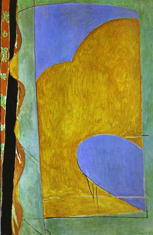 Henri Matisse >> Yellow Curtain  |  (Oil, artwork, reproduction, copy, painting).