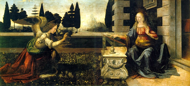 Leonardo da Vinci >> Annunciation  |  (Oil, artwork, reproduction, copy, painting).