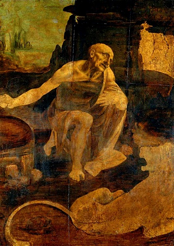 Leonardo da Vinci >> St Jerome  |  (Oil, artwork, reproduction, copy, painting).
