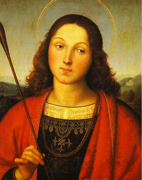 Raphael - Raffaello Sanzio >> St. Sebastian  |  (Oil, artwork, reproduction, copy, painting).