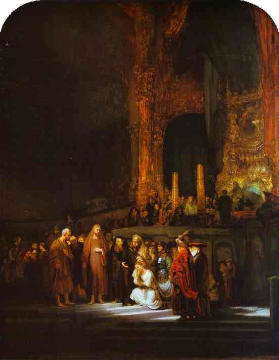 Rembrandt van Rijn >> Christ and the Woman Taken in Adultery  |  (Oil, artwork, reproduction, copy, painting).