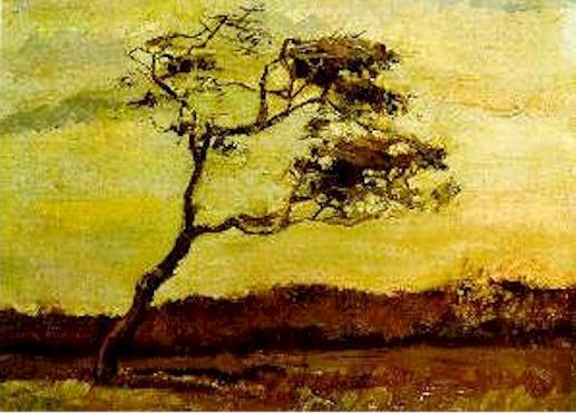Vincent Van Gogh >> Wind-Beaten Tree, A  |  (Oil, artwork, reproduction, copy, painting).