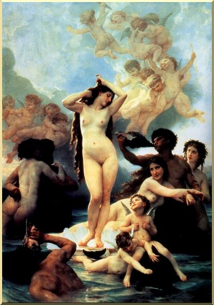 William Adolphe Bouguereau >> The Birth of Venus  |  (Oil, artwork, reproduction, copy, painting).